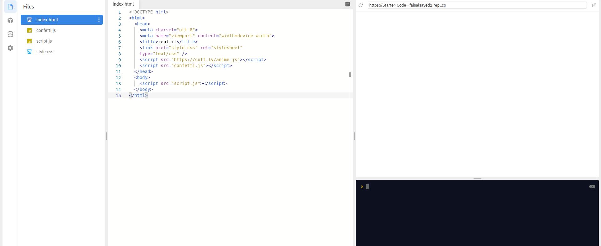 Screenshot of repl.it interface